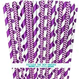 cooks tools polka dot - Outside the Box Papers Purple Stripe, Chevron and Polka Dot Paper Straws 7.75 Inches 75 Pack Purple, White
