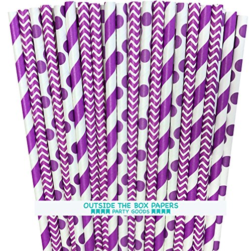 Outside the Box Papers Purple Stripe, Chevron and Polka Dot Paper Straws 7.75 Inches 75 Pack Purple, -