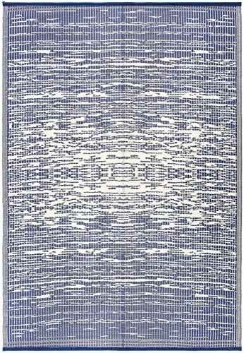 Lightweight Indoor Outdoor Reversible Plastic Area Rug - 5.9 x 8.9 Feet - California - Blue/White (Sale For Surya Rugs)