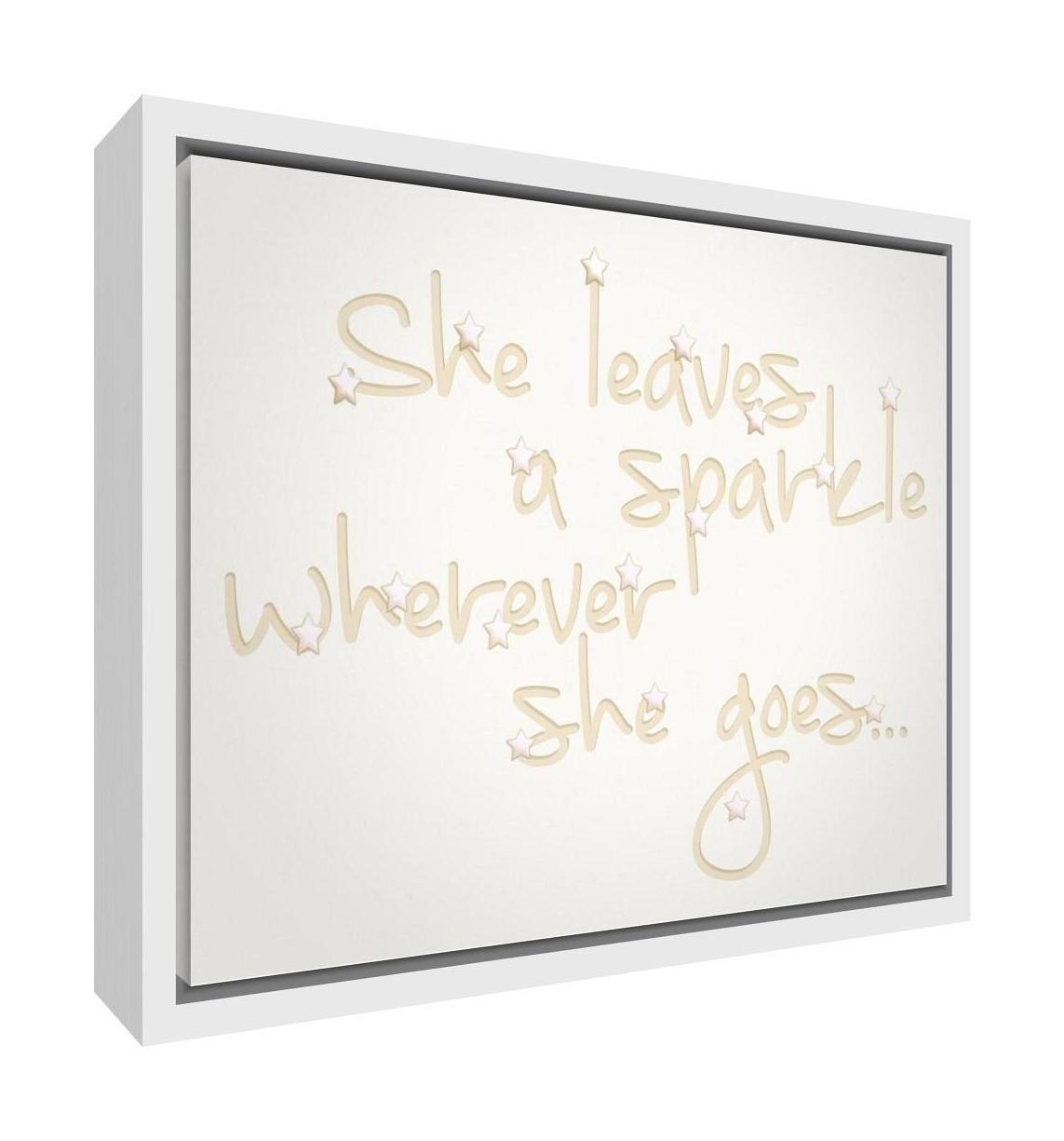 Feel Good Art eco-printed y enmarcadas lona de guarder/ía con s/ólido Marco de madera blanco 64/x 44/x 3/cm, tama/ño grande, beige, She deja un Sparkle donde She Goes