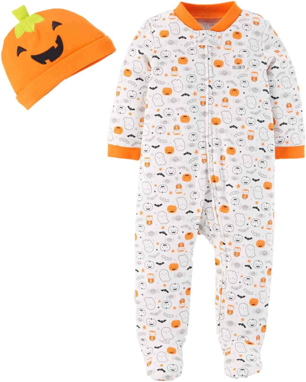 Carters Just One You Neutral Baby Halloween Pumpkin Ghost Print Sleep N Play Orange//White