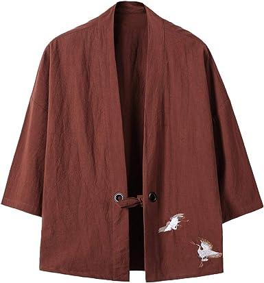 Hombre Camisa Kimono Hippie Cloak Estilo Japonés Estampado Holgado Manga 3/4 Cardigan: Amazon.es: Ropa y accesorios