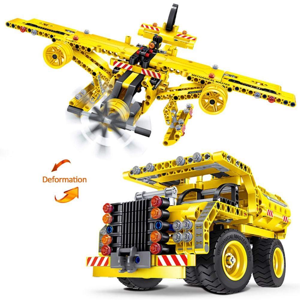 2-en-1 camion à benne basculante et avion bricolage bâtiment modèle défini assemblage de blocs de construction de voiture jouets assemblés TODAYTOP