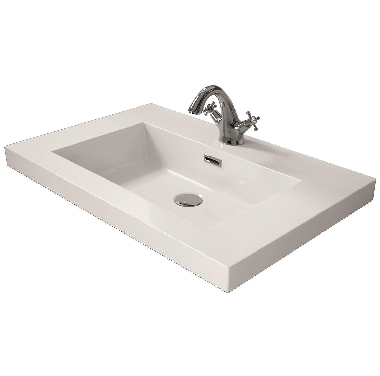 80 cm Cygnus Bath 1100120750 Lavabo Carga Mineral Blanco Brillo