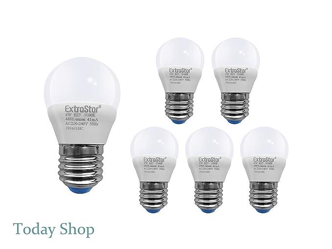 [6 Pack] Bombilla LED E27 6 W a 48 W, luz cálida 3000