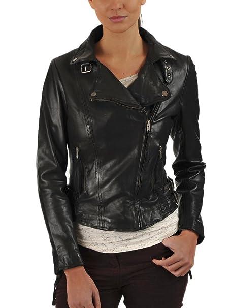 Leather4u - Chaqueta - para mujer Negro negro extra-large ...