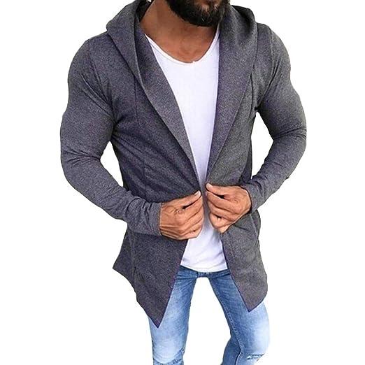 TOPUNDER Men Casual Solid Color Cardigan Sweater Slim Fit Hoodies Cotton Jacket Coat