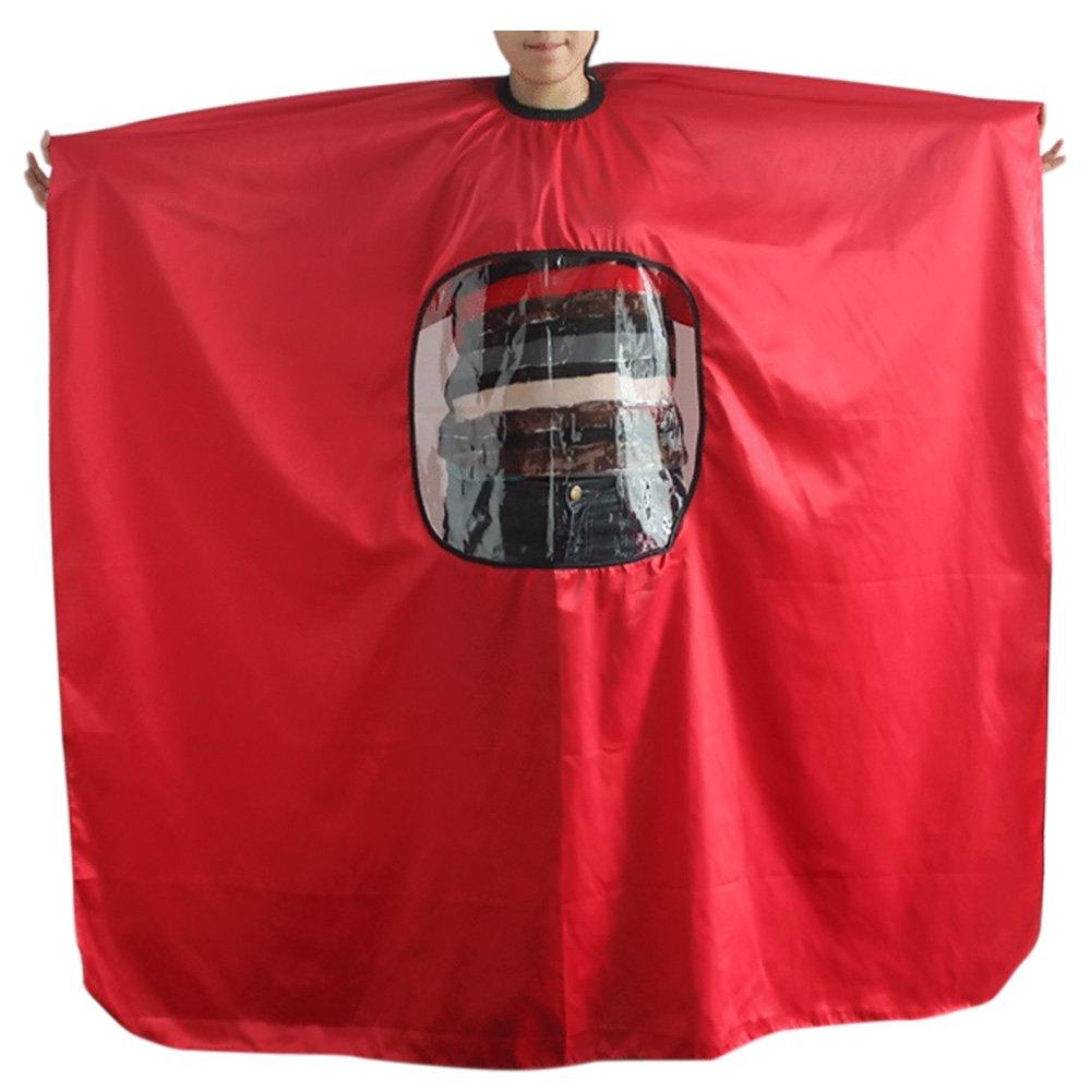 Vococal - Delantal tela de corte de pelo con una ventana transparente/Capas para champú de peluquería salón, Negro