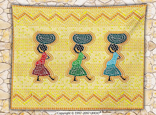 Primitive Decor Fleece Throw Blanket Mosaic Pattern of an African Scene with Women Carrying Food Basket Traditional Life Print Throw Multi