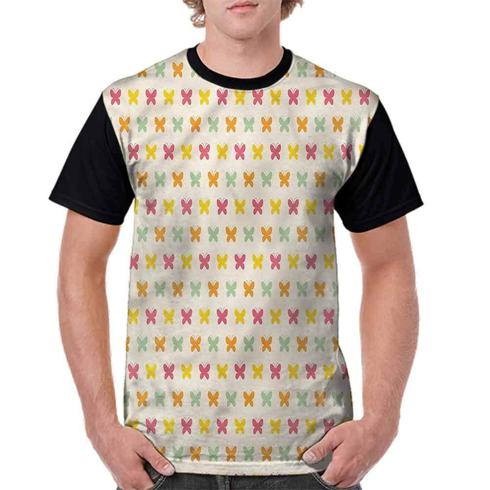 BlountDecor Cotton T-Shirt,Vivid Toned Butterflies Fashion Personality Customization