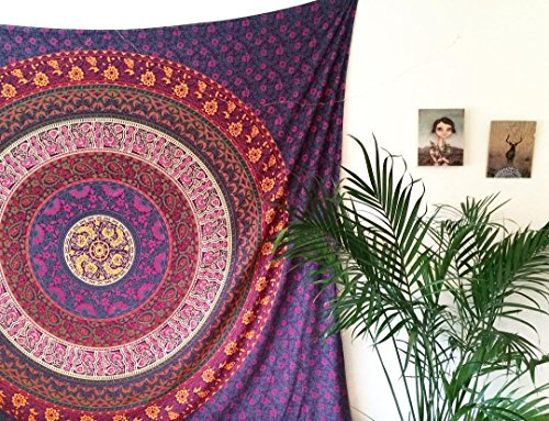 Royal Furnish Purple Plum & Bow Medallion Mandala Hippie Tapestry Bohemian Wall Hanging ()