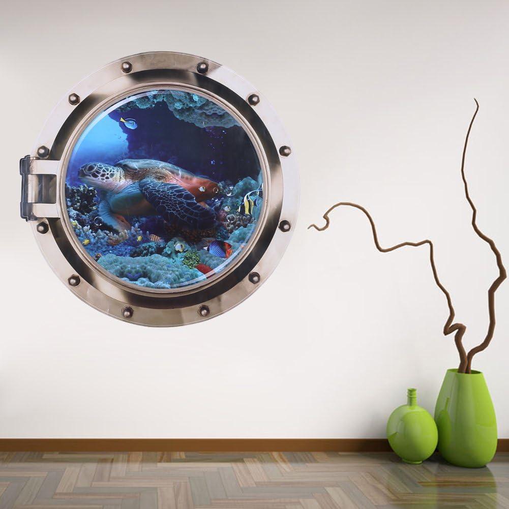 GLOBEAGLE Fish Ocean View Living Bedroom Wall Sticker Fake Window 3D Sea World 50 50cm