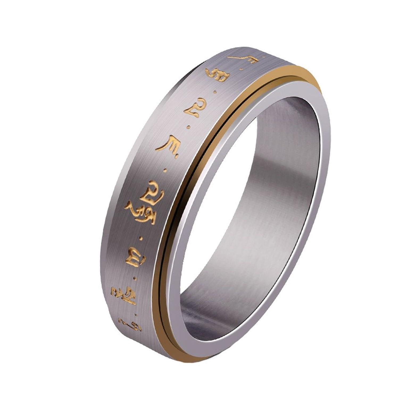 mens christian wedding bands HIJONES Men s Stainless Steel Buddhist Gold Mantra Pattern Spinner Lucky Ring