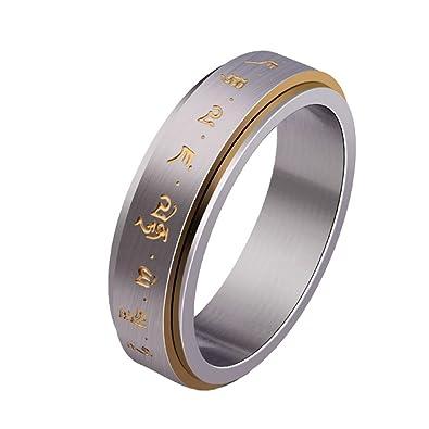 HIJONES Mens Stainless Steel Buddhist Gold Mantra Pattern Spinner Lucky Ring JRDmn
