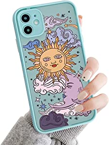 Ownest Compatible with iPhone 11 Case for Clear Frosted PC Back 3D Sun Moon Cartoons Girls Woman and Soft TPU Bumper Silicone Slim Case for iPhone 11-Blue