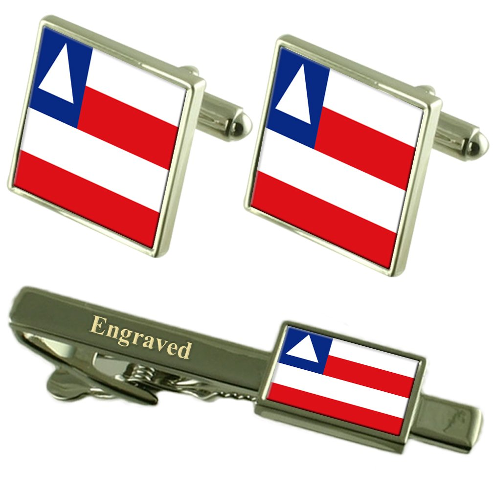 Select Gifts Bahia Flag Cufflinks Engraved Tie Clip Matching Box Set