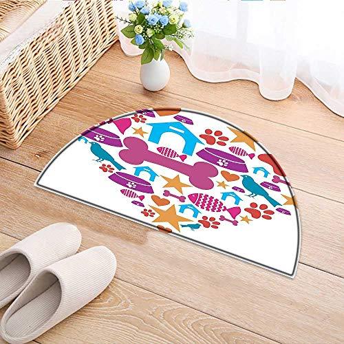 Carpet Floor mat Bath mat Door mat Decor Collection Heart Shape Made with Pets Care Icons Bird Dish Footprint Creative Water-Absorbing Floor mat Anti-Slip mat W24 x H16 INCH