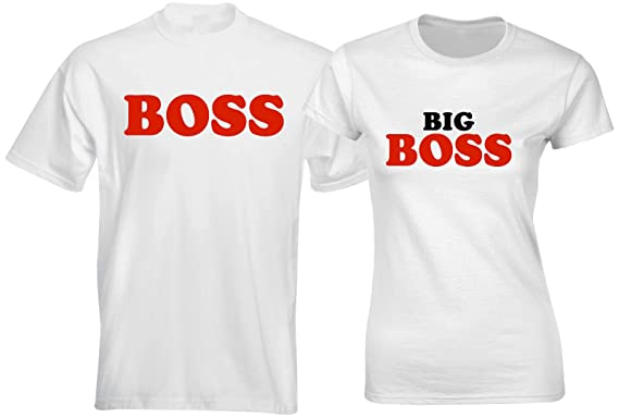 11c27bd0f4 SuperPraise Matching Couple T Shirts Boss Big Boss Husband Wife Funny  Couples Clothes Outfit: Amazon.co.uk: Clothing