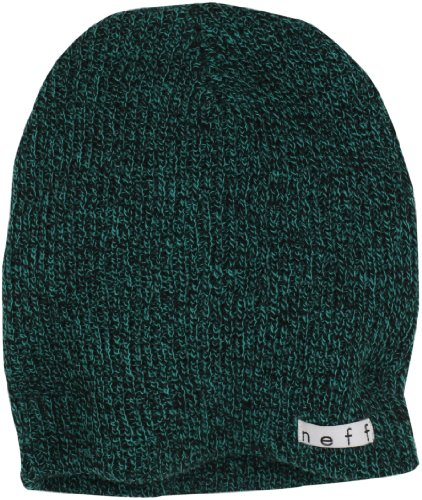 neff Men's Daily Heather Beanie, Black/Green, One Size Green Day Black Beanie