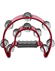 Flexzion Half Moon Musical Tambourine (Red) Double Row Metal Jingles Hand Held Percussion Drum for Gift KTV Party Kids Toy with Ergonomic Handle Grip