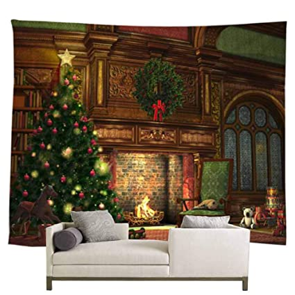 POPPAP Christmas New Year Home Decor Wall Hanging Tapestry Blanket Warm Romantic Eve