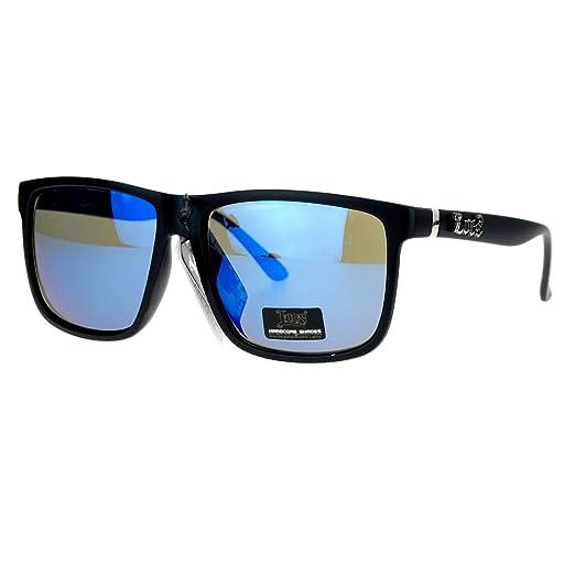 5b03f3a4504 Mens Locs Sunglasses Matte Black Square Frame Blue Mirror Lens UV400
