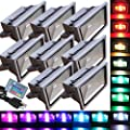 8 Pack - 50W RGB Flood Light - TDLTEK 50W RGB Color Changing LED Flood Light /Spotlight/Landscape Lamp/Outdoor Security Light With[ Memory Function], [US 3 prong plug] and [Remote Controller]