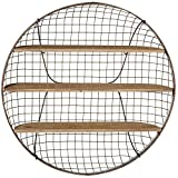 Country Rustic Vintage Home Shelving, Round Chicken Wire Basket Floating Shelf, Wall Decoration and Storage Rack, 3 Tiers, 30-inch