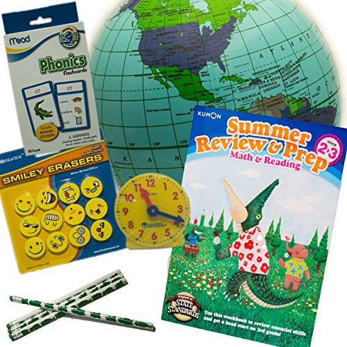 Summer Review and Prep Learning Bundle for Grades 2 to 3, Math, Reading, Phonics, Telling Time and Geography--Great for Travel and Home