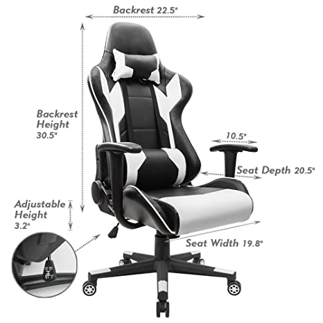 amazoncom homall executive swivel leather gaming chair racing style highback office chair with lumbar support and headrest white kitchen u0026 dining