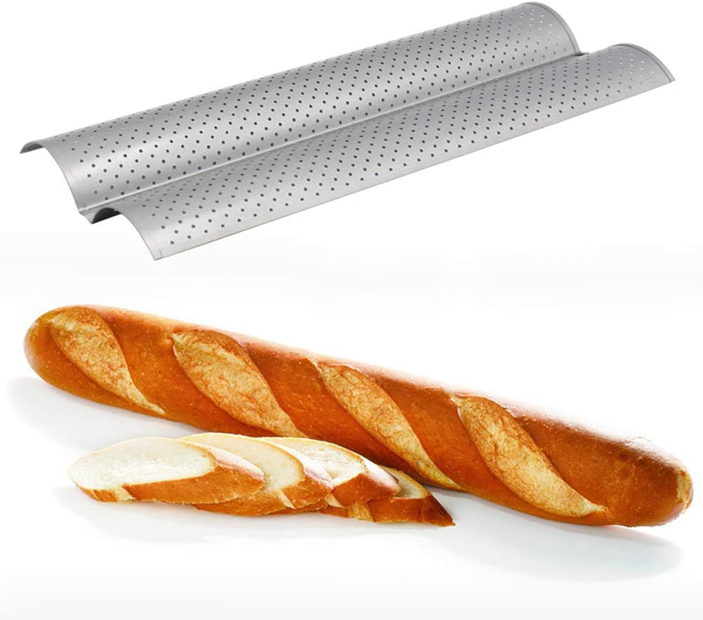 wsloftyGYd 2//3//4-Slot Crusty Perforated Non Stick Baguette French Bread Bake Tray Pan Tool Non-stick 4 trough 3 trough 3 trough bread wave baking racks Black2 2-Slot