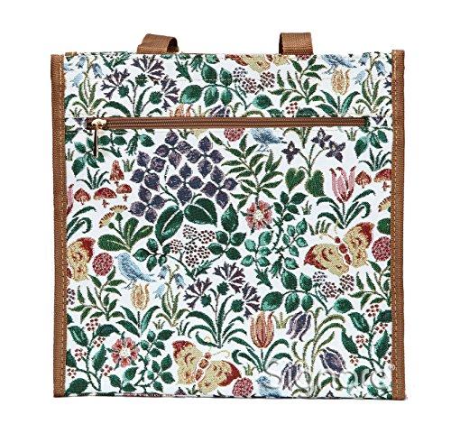Borsa donna Signare in tessuto stile arazzo shopping fiore primaverile