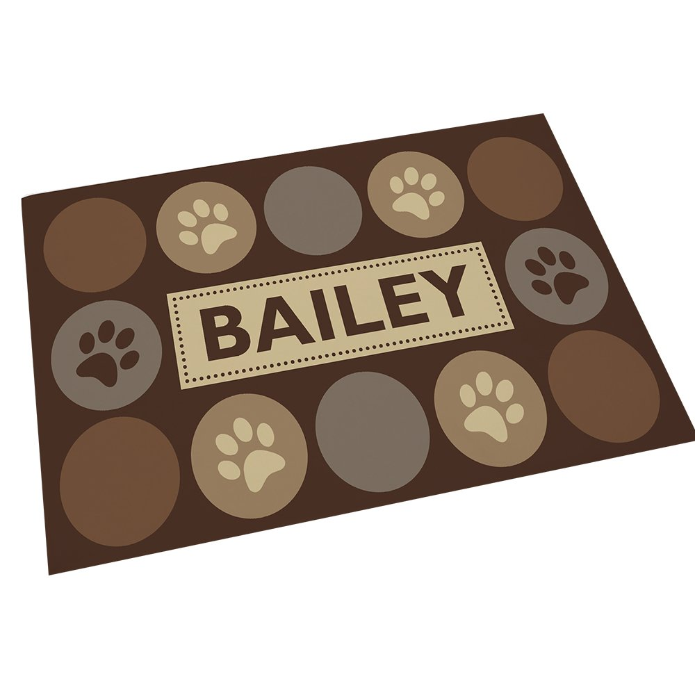 GiftsForYouNow Paw Print Personalized Pet Feeding Mat
