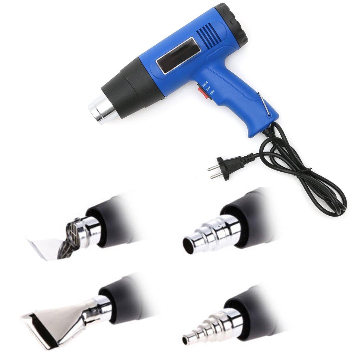 OlogyMart 1500W Hot Air Heat Gun Dual Temperature + 4 Nozzles Power 220V 50-60HZ EU Plug