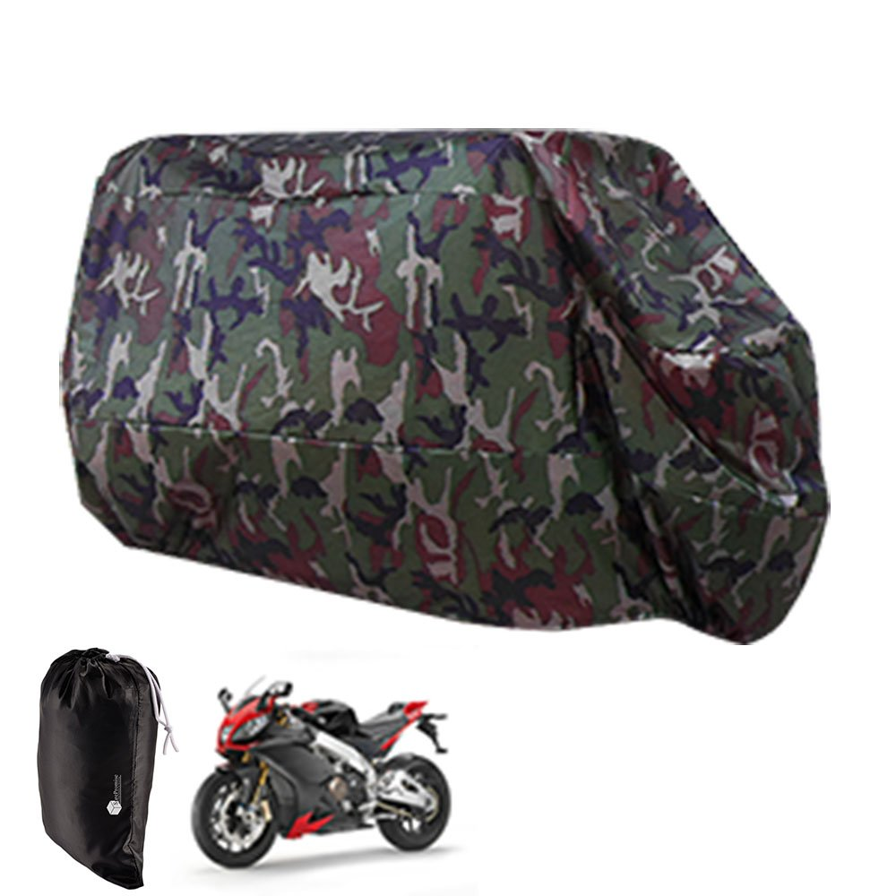 AKORD MotorcycleWaterproof UV Protective Cover with Storage Bag, Black/Red, Size XL MO-14-RB