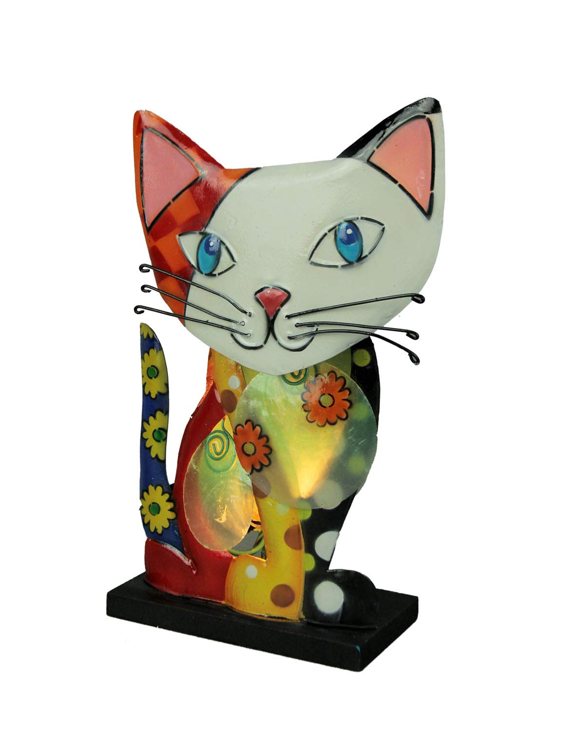 Natural Shell and Metal Art Calico Cat Accent Lamp