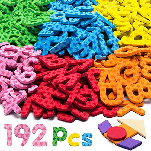 192 Pcs Magnetic Letters Numbers 9 Color(With Pattern Blocks,Symbols) Foam Set, Alphabet Magnets Gift for Preschool Kids Children Toddler Educational Fridge Refrigerator Toy, Classroom School Learning ()
