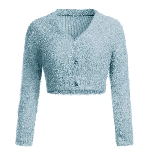 96763e8fdfbbc Sunhusing Women Fashion V-Neck Long Sleeve Knitted Sweater Casual Crop  Popular Women Furry Knitwear