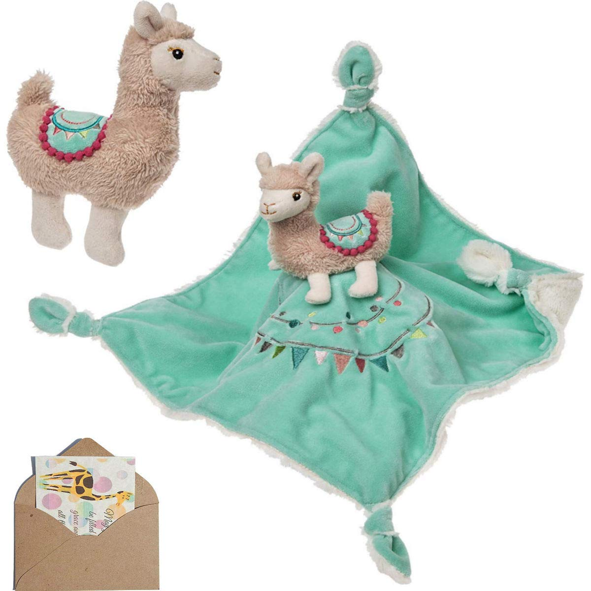 Llama Baby Toy Bundle by Mary Meyer with Rattle and Blanket Lovey and Mini Gift Card
