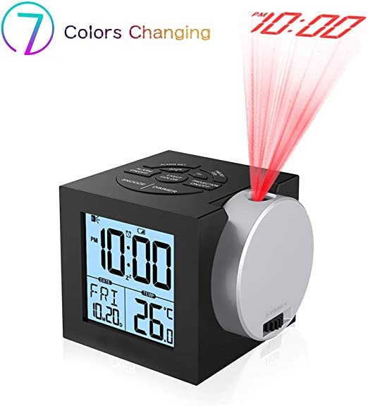 Despertador Proyector, Digital Proyección Relojes de Alarma, Radio ...