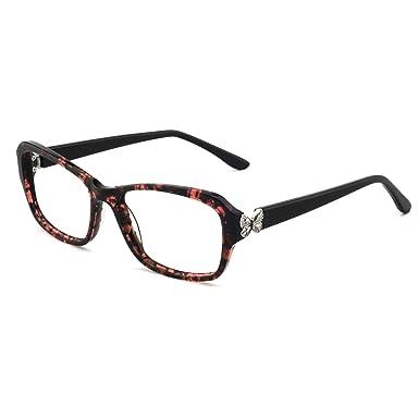 25e4fe8765b OCCI CHIARI Non-Prescription Eyewear Frame Rectangular Eyeglasses Clear  Lenses Glasses For Women(Red