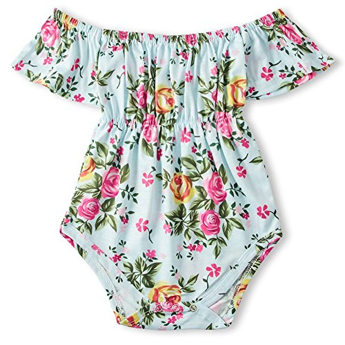 BFUSTYLE Baby Girl Puff Sleeves Romper Button Floral Jumpsuit Floral Playsuit Printing Rompers for Kids Creeper Shower Gift 6-12M Small ()