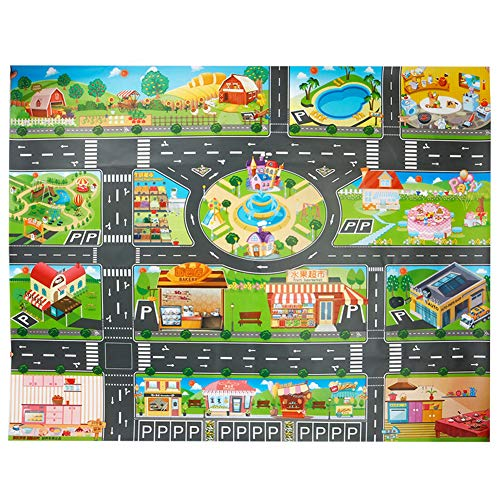 Toy Rug, PVC Road Playmat Toy,Plastic Kids Carpet Playmat Waterproof City Life Great for Playing with Cars and Toys - Baby, Children Educational Road Traffic Play Mat- Large Learning -