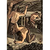 Vintage British WW2 1939-45 Propaganda Paintings COAL MINERS AT WORK, CUTTING COAL AND PROPPING. PAINTING NUMBER TWO. 250gsm Gloss Art Card A3 Reproduction Poster by World of Art
