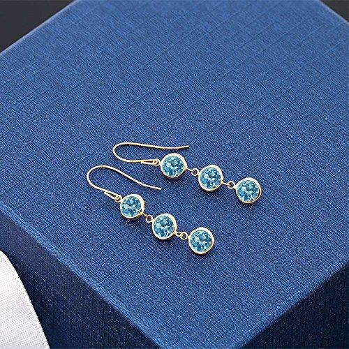 3.60 Ct Round Swiss Blue Topaz 14K Yellow Gold Bezel 1'' Dangle Women's Earrings by Gem Stone King (Image #1)