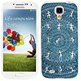 S4 Case,Samsung S4 Case,Galaxy S4 Case,ChiChiC full Protective Case slim durable Soft TPU Cases Cover for Samsung Galaxy S4 Galaxy S IV,white tribal people hunting on ocean blue jean denim mandala