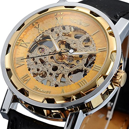 Classic Watch Band Compass (Happy Hours - New Fashion Round Face Gold Steampunk Skeleton Mechanical Transparent Clear Dial Silver Stainless Steel Boys' / Men's Sport Leather Band Wrist Watch)