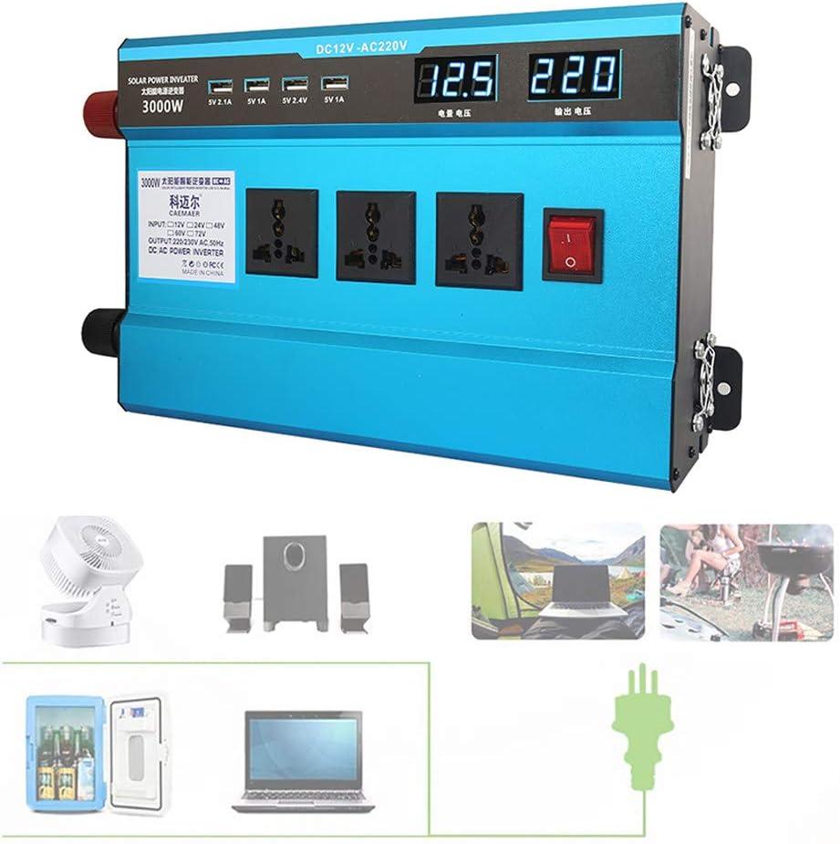 12 V // 24 V // 48 V // 60 V zu 220 V // 230 V Wechselstrom Auto Wechselrichter mit LCD-Digitalanzeige 12Vto220V Kfz-Steckdosenadapter zum Laden im Freien,2200W