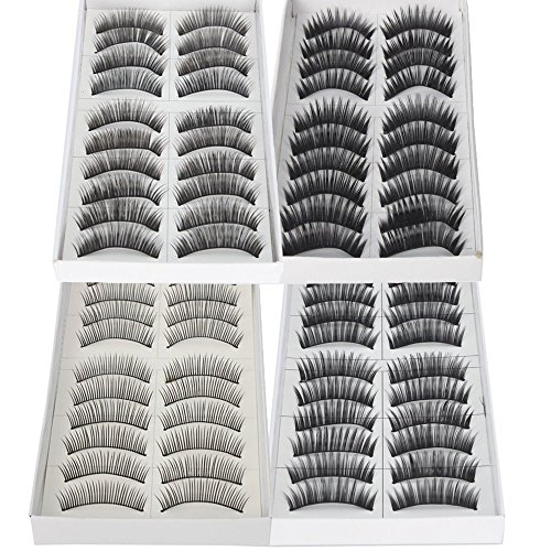 ReNext 40 Pairs of Black Long & Thick Reusable False Eyelashes Fake Eye Lash for Makeup Cosmetic, 4 Kinds of Style