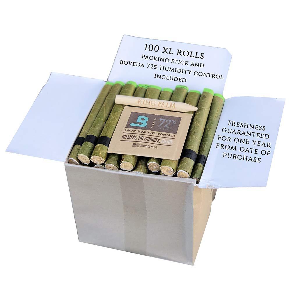 King Palm Hand Rolled Leaf Wrap Rolls + Boveda - XL Size - 100 Count Bulk Pack